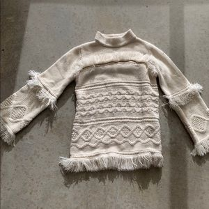 BB Dakota fringe macrame knit sweater